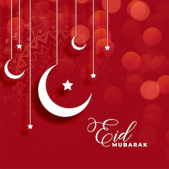 Red eid mubarak background with moon and star decoration