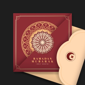 Red eid mubarak postcard
