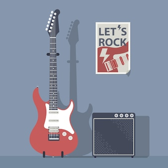 Red electric guitar with an amplifier