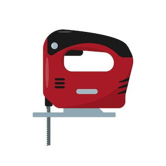 빨간 전기 퍼즐 아이콘입니다. 작업 도구 또는 장치. 가정용 악기.