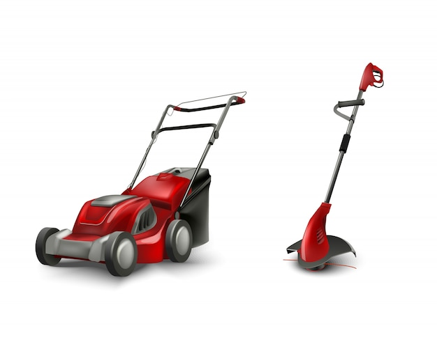 Red electric lawn mower and trimmer for garden gazon. lawn mowing machine.