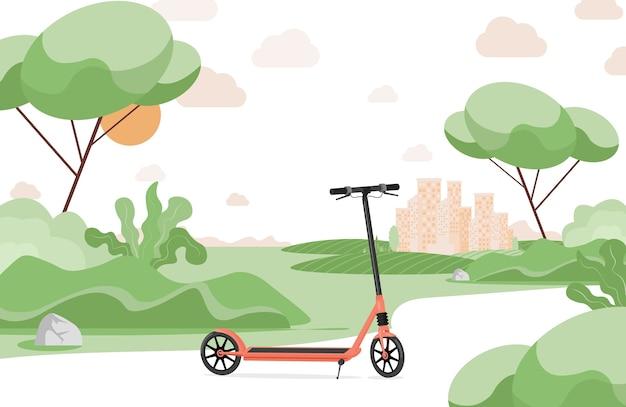 Красный электрический самокат в городском парке плоской иллюстрации. скутер, современный личный транспорт в городском парке.