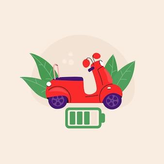 赤い電動スクーター。バッテリー充電アイコンで原付。生態学的輸送。