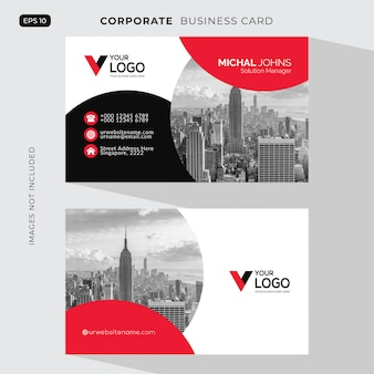 Red elegant corporate card free vector