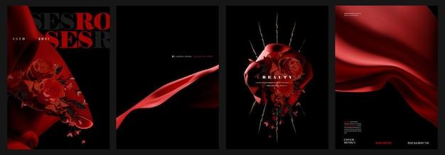 Red elegant magazine cover design set