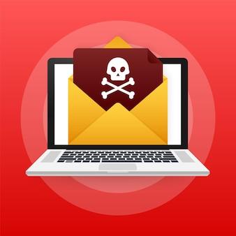 Красный почтовый вирус. экран компьютера. вирус, пиратство, взлом и безопасность, защита. векторная иллюстрация штока.
