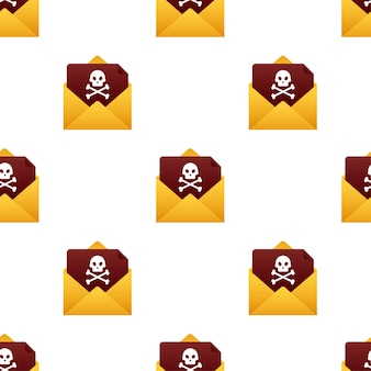 Red email virus pattern. computer screen. vector stock illustration.