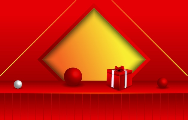 Red empty room with geometroc shape and gift box
