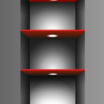 Red empty shelf with lighting