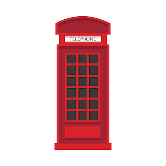 Red english telephone box in flat style. telephone icon isolated.