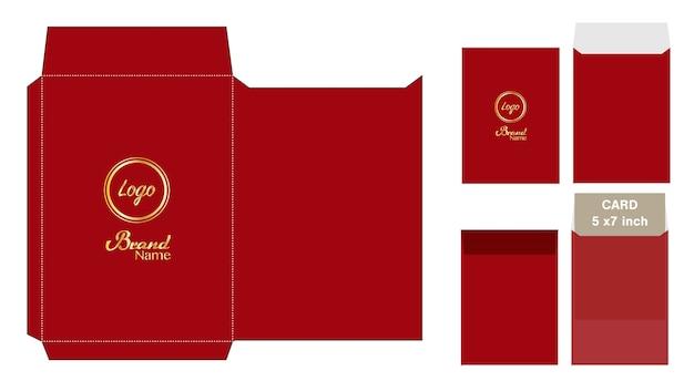 赤い封筒ダイカットモックアップテンプレートベクトル