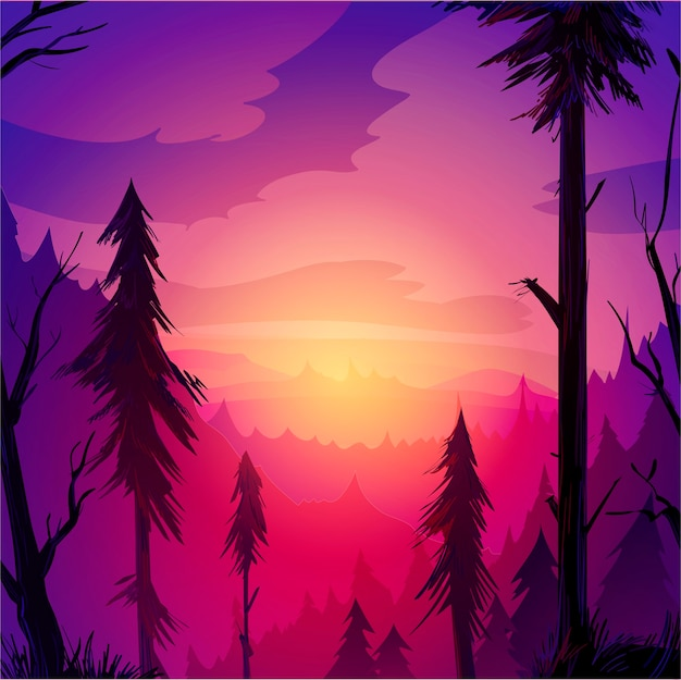 Red evening forest with trees and clouds