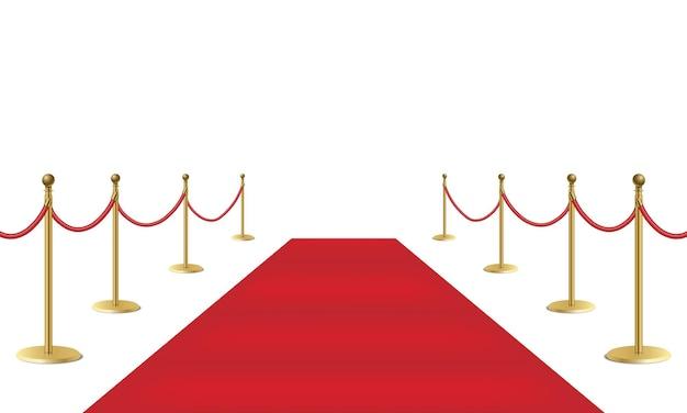 赤いイベントカーペットと白い背景、ベクトル図に分離された金色の障壁