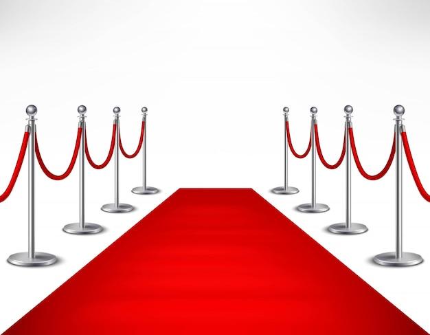 흰색 배경에 사실적인 벡터 일러스트 레이 션에 빨간색 이벤트 카펫과 은빛 장벽