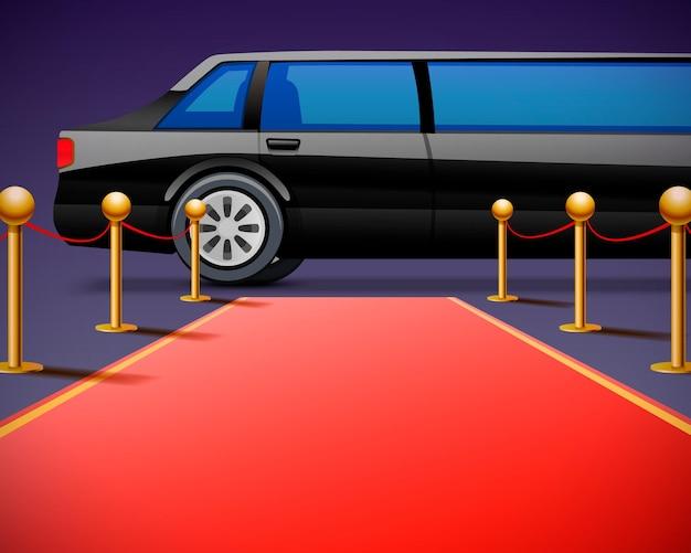 黒の背景に分離された赤いイベントカーペット。