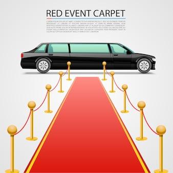 白い背景で隔離の赤いイベントカーペット。