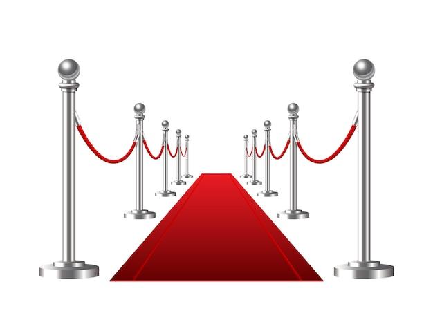 白地に赤いイベントカーペット。図