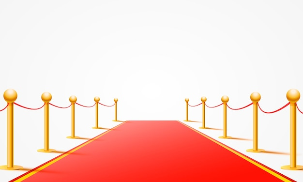 Красная ковровая дорожка на белом фоне.