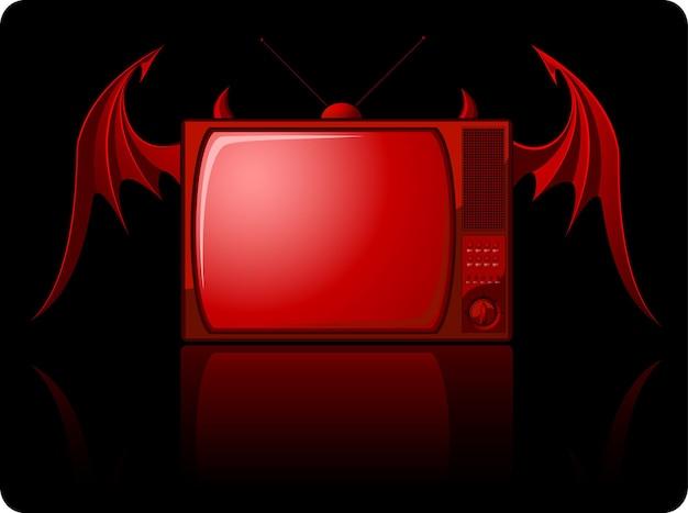 블랙에 날개를 가진 붉은 악마 복고풍 tv