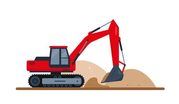 빨간색 굴삭기는 토양을 파냅니다. 건설 기계.