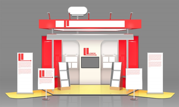 Red exhibit display case design