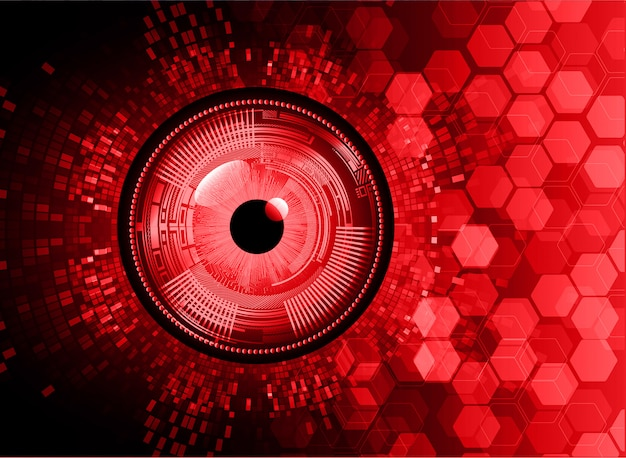 Red eye cyber circuit future technology background