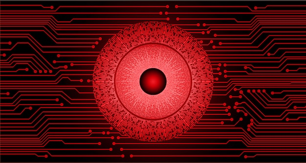 Red eye cyber circuit future technology concept background