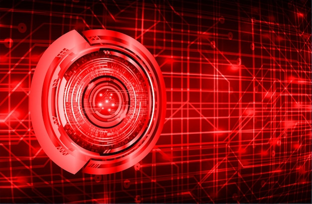 Красный глаз кибер цепи будущей технологии концепции фон