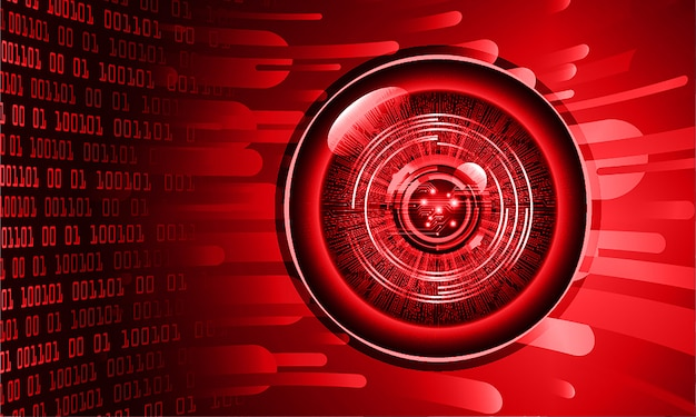 Red eye cyber circuit future technology concept