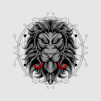 Red fangs lion with sacred geometry