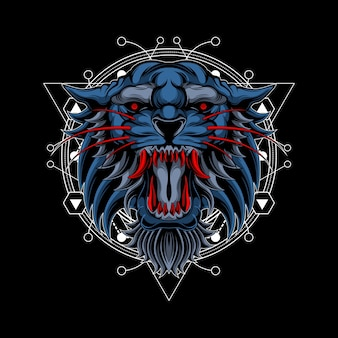Red fangs tiger sacred geometry