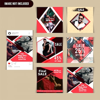 Red fashion social media post template