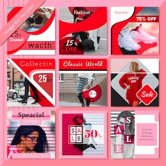 Red fashion социальные медиа пост шаблон
