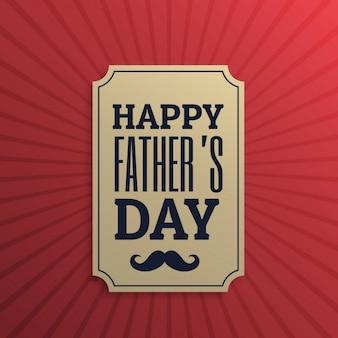 赤い背景で幸せな父の日ラベル