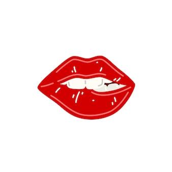 빨간 여성 섹시한 입술 빨간 립스틱으로 입술을 깨물다