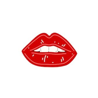 빨간 여성 섹시한 입술 반쯤 열린 여성 입