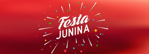 Red festa junina celebration banner