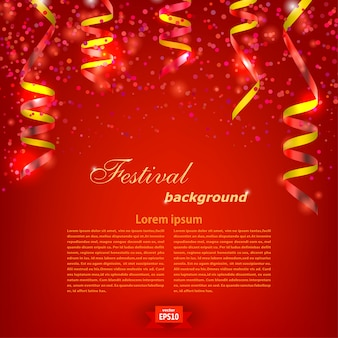 Red festive background template with bright red serpentine. festival. vector illustration