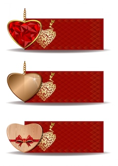 Red festive banners set with hearts. template for birthday, valentines day, wedding, engagement and other romantic events.