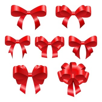 Red festive bows. beautiful bright ribbons of different configurations.