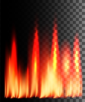 Red fire abstract effect on transparent background.