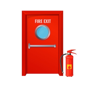 둥근 원과 소화기가있는 빨간 불 출구. 밝은 색상의 큰 비상 문. 화염 확산 방지 조치 격리 만화.