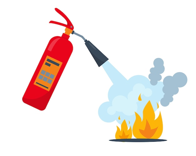 Red fire extinguisher and burning fire with smoke