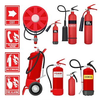 Red fire extinguisher, firefighter tools for flame protection setof various extinguisher types