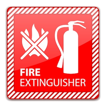 Red fire extinguisher sign isolated