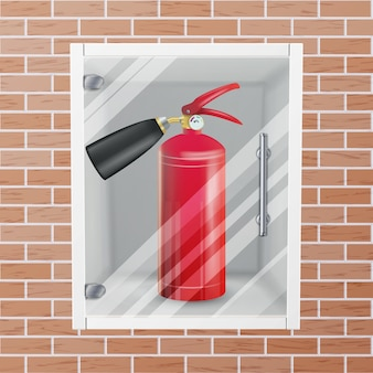Red fire extinguisher in wall niche vector. metal glossiness realistic red fire extinguisher illustration