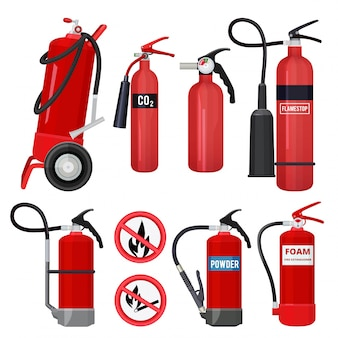 Red fire extinguishers. firefighters tools for flame fighting attention colored  symbols for fire station
