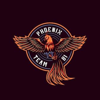 Red fire phoenix mascot logo template