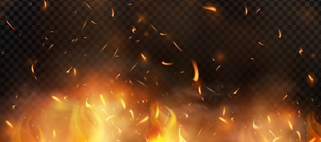 Red fire sparks   flying up. burning glowing particles. flame of fire with sparks in the air over a dark night.