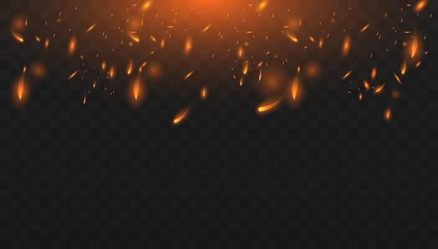 Красный огонь искры вектор летит вверх. горящие светящиеся частицы. реалистичный эффект изолированного огня. понятие о блестках, пламени и света.